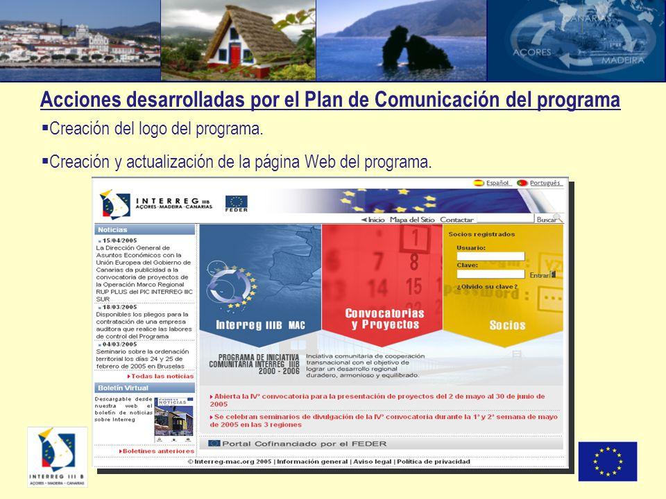 Acciones desarrolladas por el Plan de Comunicación del programa Creación del logo del programa. Creación y actualización de la página Web del programa