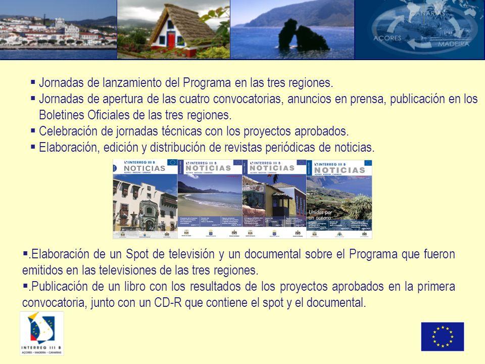 Jornadas de lanzamiento del Programa en las tres regiones. Jornadas de apertura de las cuatro convocatorias, anuncios en prensa, publicación en los Bo