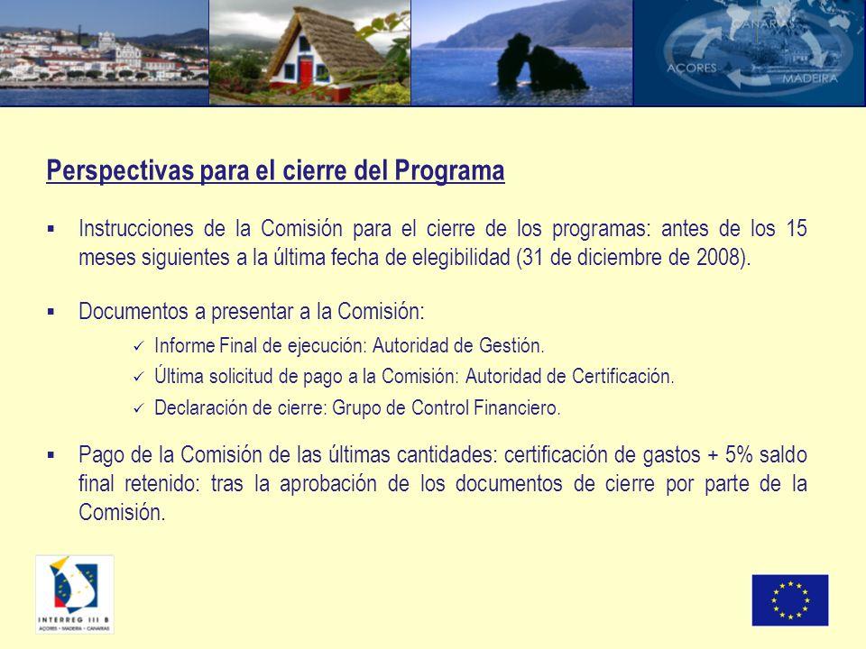 Instrucciones de la Comisión para el cierre de los programas: antes de los 15 meses siguientes a la última fecha de elegibilidad (31 de diciembre de 2