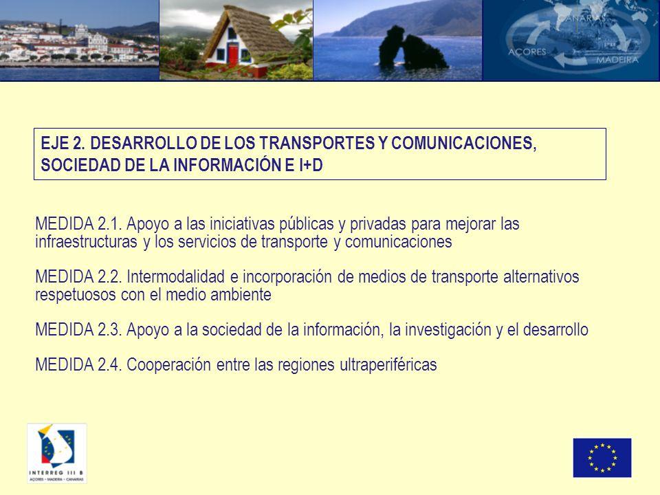 MEDIDA 2.1. Apoyo a las iniciativas públicas y privadas para mejorar las infraestructuras y los servicios de transporte y comunicaciones MEDIDA 2.2. I