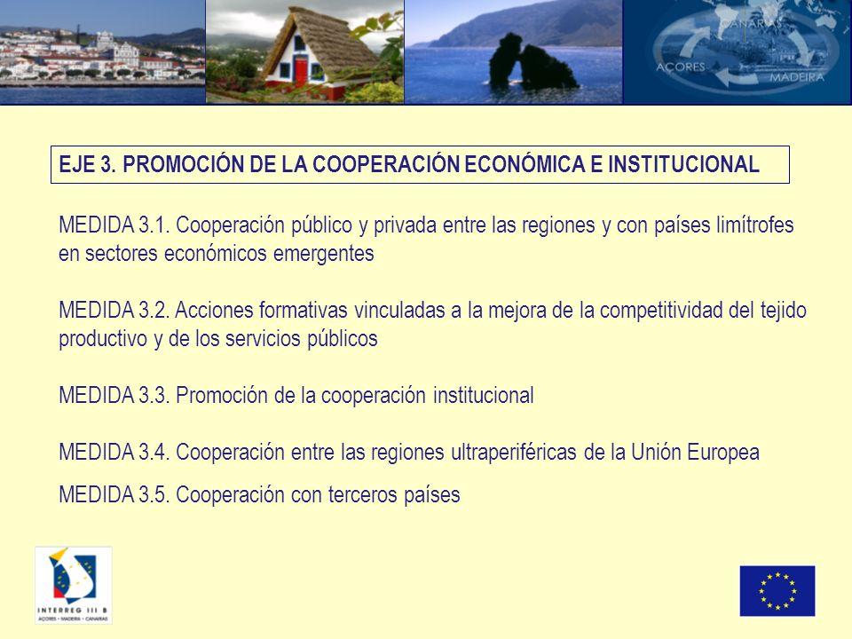 MEDIDA 3.1. Cooperación público y privada entre las regiones y con países limítrofes en sectores económicos emergentes MEDIDA 3.2. Acciones formativas