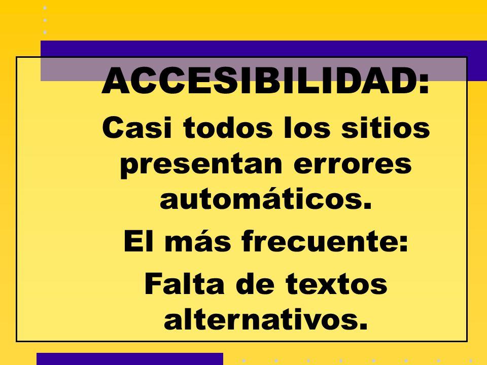 ACCESIBILIDAD: Casi todos los sitios presentan errores automáticos. El más frecuente: Falta de textos alternativos.