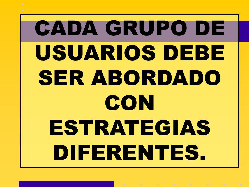 CADA GRUPO DE USUARIOS DEBE SER ABORDADO CON ESTRATEGIAS DIFERENTES.