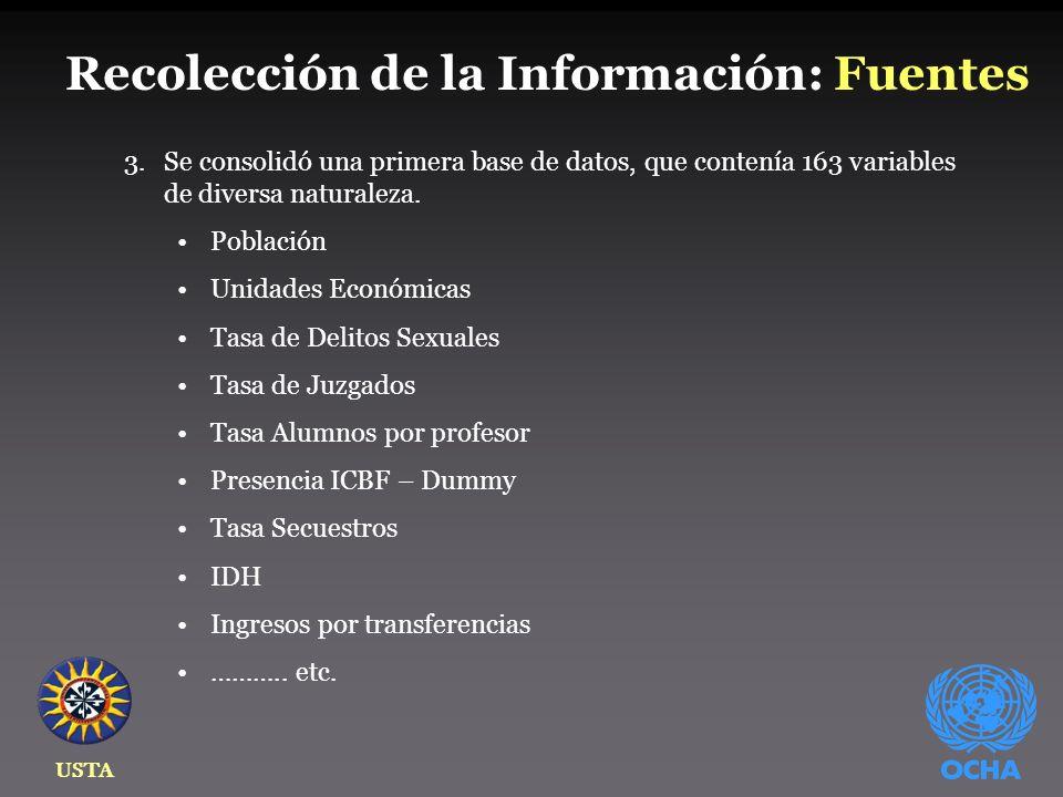 USTA Recolección de la Información: Fuentes 3.Se consolidó una primera base de datos, que contenía 163 variables de diversa naturaleza.