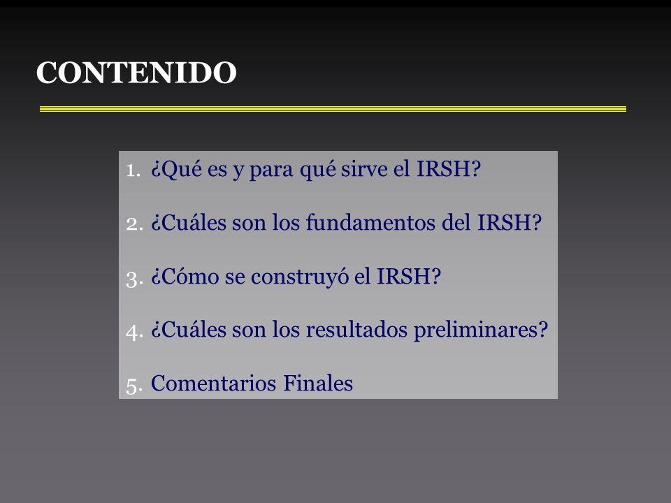 CONTENIDO 1.¿Qué es y para qué sirve el IRSH. 2.¿Cuáles son los fundamentos del IRSH.