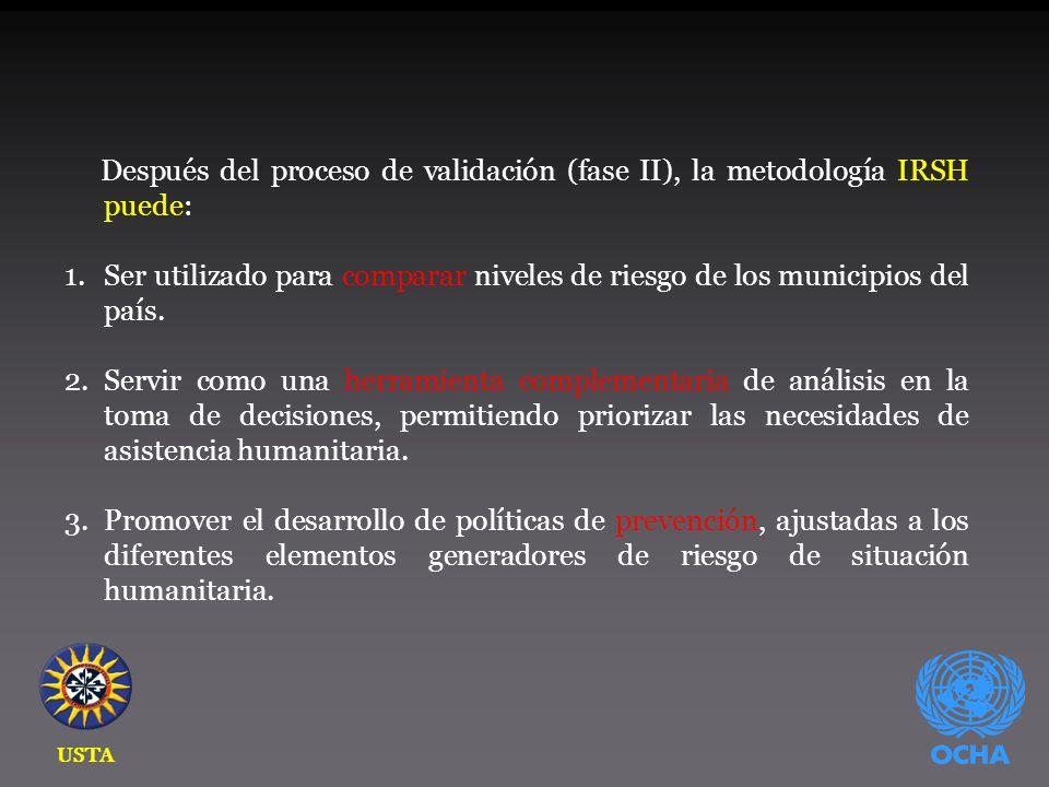 Después del proceso de validación (fase II), la metodología IRSH puede: 1.Ser utilizado para comparar niveles de riesgo de los municipios del país.