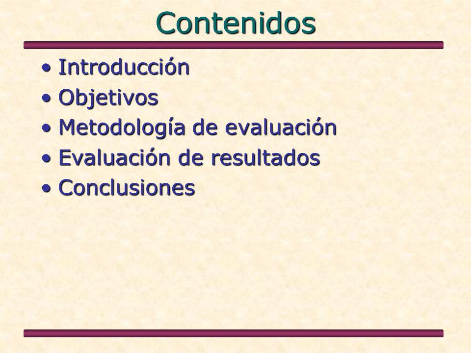 Contenidos IntroducciónIntroducción ObjetivosObjetivos Metodología de evaluaciónMetodología de evaluación Evaluación de resultadosEvaluación de resultados ConclusionesConclusiones