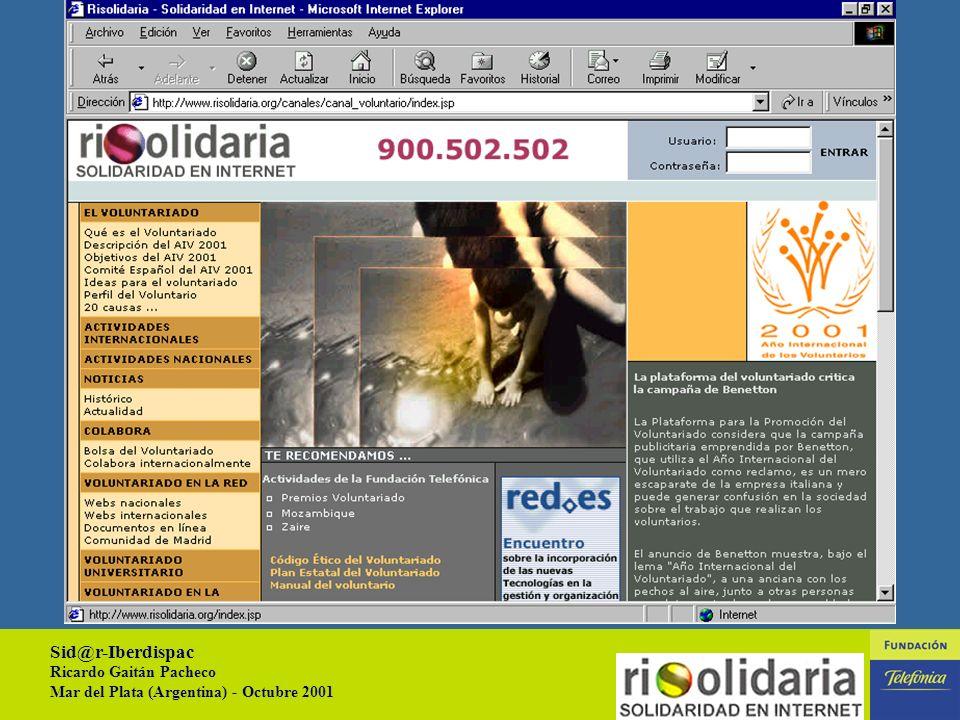 Sid@r-Iberdispac Ricardo Gaitán Pacheco Mar del Plata (Argentina) - Octubre 2001 12 AREAS TEMÁTICAS