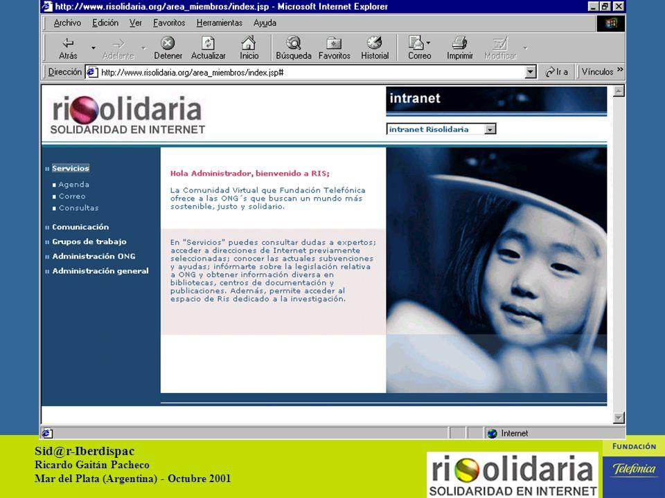 Sid@r-Iberdispac Ricardo Gaitán Pacheco Mar del Plata (Argentina) - Octubre 2001 17 AREA DE MIEMBROS