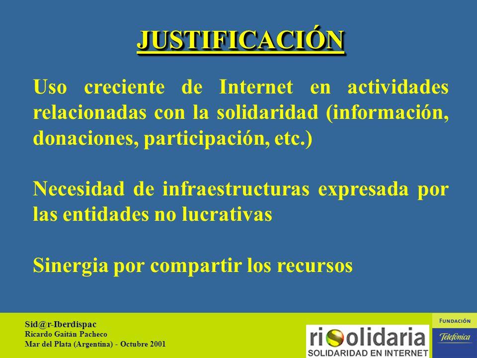 Sid@r-Iberdispac Ricardo Gaitán Pacheco Mar del Plata (Argentina) - Octubre 2001 1 1.- Justificación 2.- Objetivos 3.- Breve descripción CONTENIDO