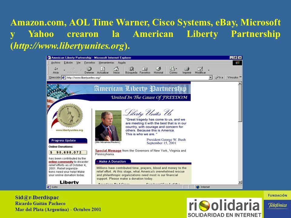 Sid@r-Iberdispac Ricardo Gaitán Pacheco Mar del Plata (Argentina) - Octubre 2001 3 HECHOS RECIENTES (11-09-2001) Respuesta por Internet no tiene precedentes.