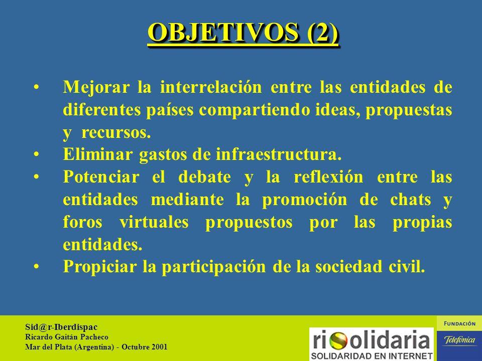 Sid@r-Iberdispac Ricardo Gaitán Pacheco Mar del Plata (Argentina) - Octubre 2001 6 OBJETIVOS Difundir actividades de las entidades (proyectos, campañas, demandas de voluntariado, movilizaciones, etc.).