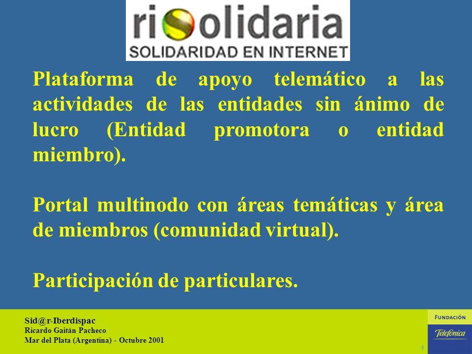Sid@r-Iberdispac Ricardo Gaitán Pacheco Mar del Plata (Argentina) - Octubre 2001 7 Mejorar la interrelación entre las entidades de diferentes países compartiendo ideas, propuestas y recursos.