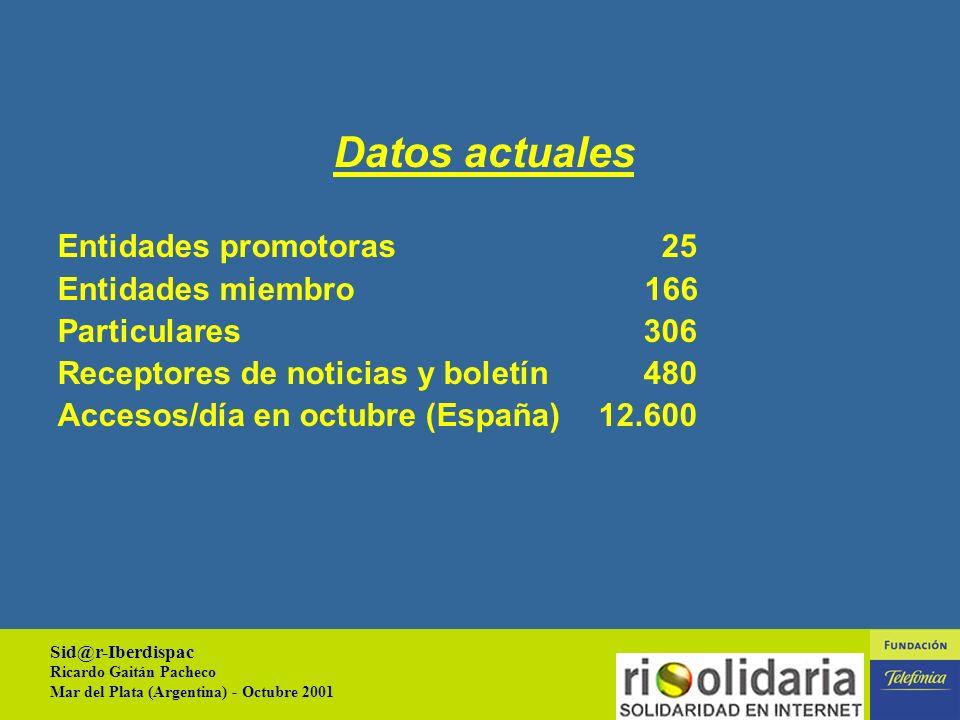 Sid@r-Iberdispac Ricardo Gaitán Pacheco Mar del Plata (Argentina) - Octubre 2001 8 Plataforma de apoyo telemático a las actividades de las entidades sin ánimo de lucro (Entidad promotora o entidad miembro).