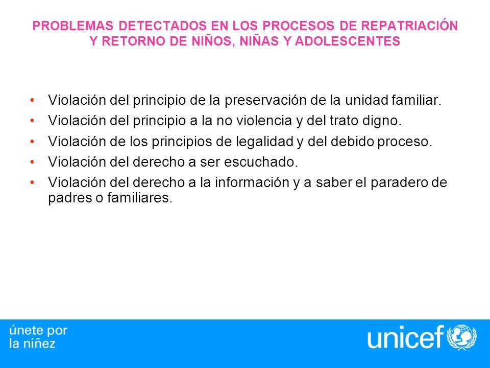 PROBLEMAS DETECTADOS EN LOS PROCESOS DE REPATRIACIÓN Y RETORNO DE NIÑOS, NIÑAS Y ADOLESCENTES Violación del principio de la preservación de la unidad familiar.