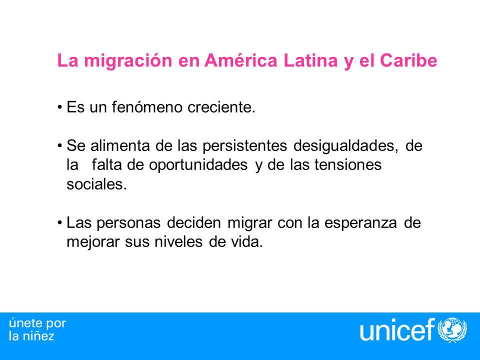 Migración por destinos en América Latina y el Caribe La Migración Interna- primero de las zonas rurales a las urbanas y ahora entre centros urbanos.