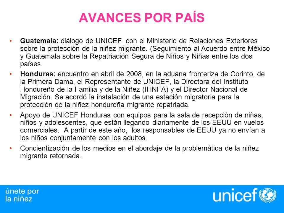 AVANCES POR PAÍS Guatemala: diálogo de UNICEF con el Ministerio de Relaciones Exteriores sobre la protección de la niñez migrante.