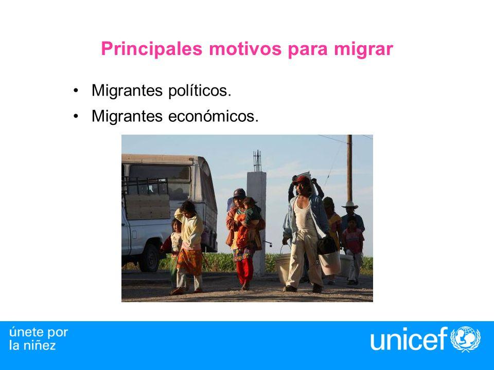 Principales motivos para migrar Migrantes políticos. Migrantes económicos.