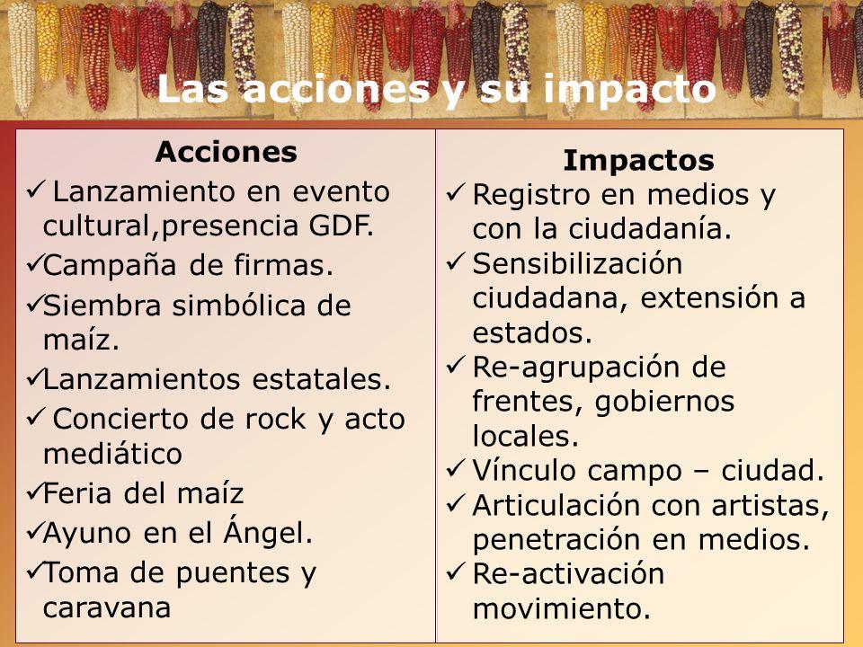 Las acciones y su impacto Acciones Lanzamiento en evento cultural,presencia GDF. Campaña de firmas. Siembra simbólica de maíz. Lanzamientos estatales.