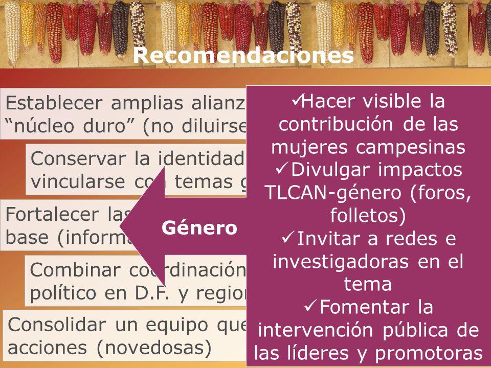 Fortalecer las regiones, la organización de base (información, educación, eventos locales) Combinar coordinación logística con análisis político en D.