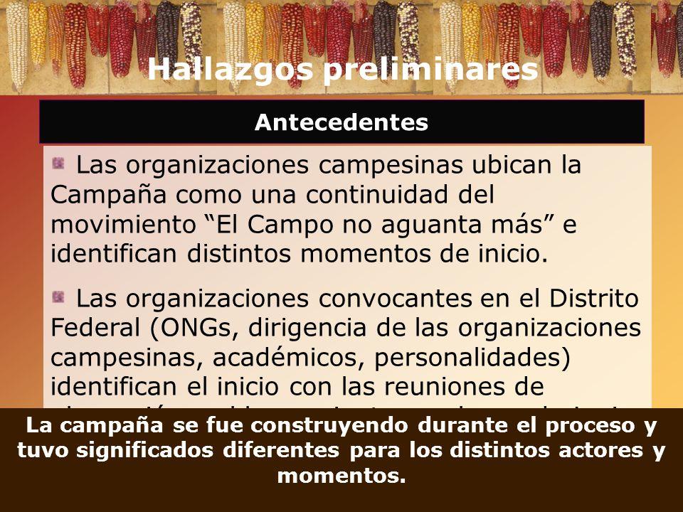 Hallazgos preliminares Antecedentes Las organizaciones campesinas ubican la Campaña como una continuidad del movimiento El Campo no aguanta más e iden