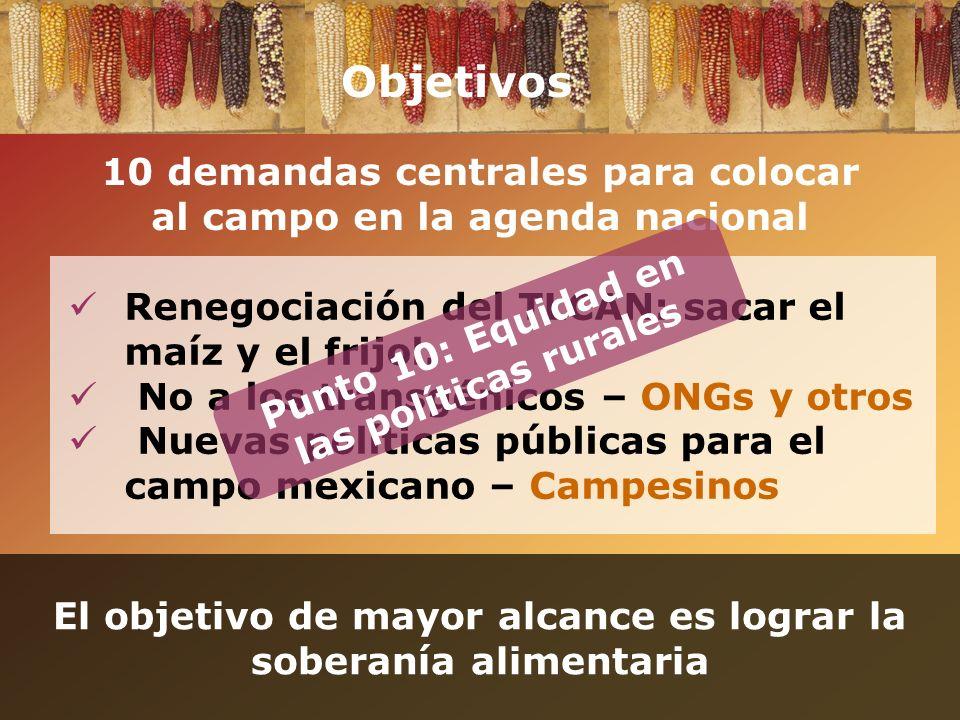 Objetivos Renegociación del TLCAN: sacar el maíz y el frijol. No a los transgénicos – ONGs y otros Nuevas políticas públicas para el campo mexicano –