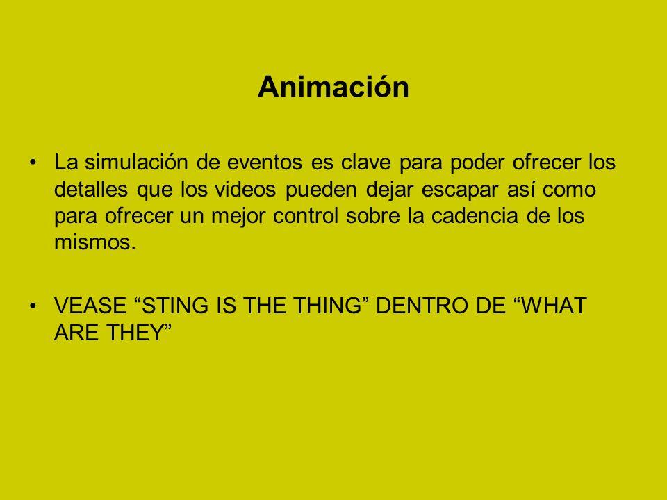 Animación La simulación de eventos es clave para poder ofrecer los detalles que los videos pueden dejar escapar así como para ofrecer un mejor control sobre la cadencia de los mismos.