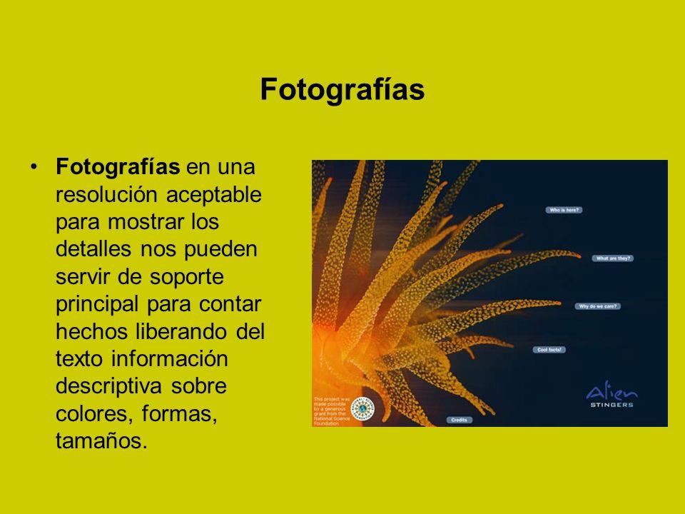 Fotografías Fotografías en una resolución aceptable para mostrar los detalles nos pueden servir de soporte principal para contar hechos liberando del texto información descriptiva sobre colores, formas, tamaños.