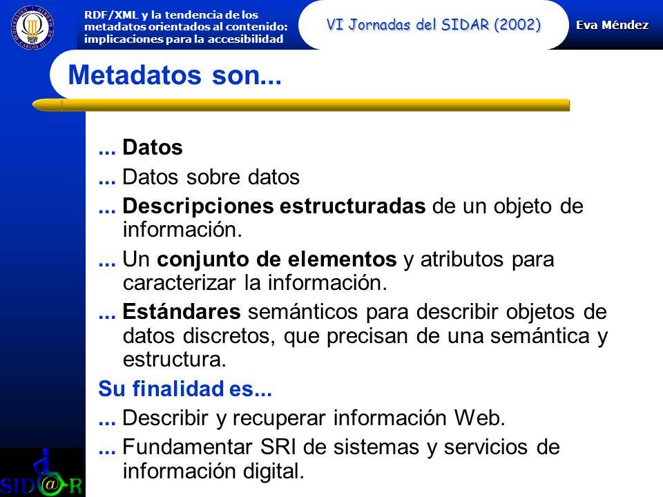 Eva Méndez RDF/XML y la tendencia de los metadatos orientados al contenido: implicaciones para la accesibilidad VI Jornadas del SIDAR (2002) Metadatos son......