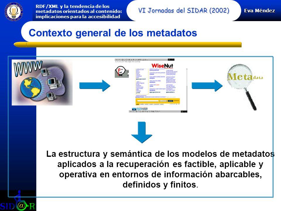 Eva Méndez RDF/XML y la tendencia de los metadatos orientados al contenido: implicaciones para la accesibilidad VI Jornadas del SIDAR (2002) Contexto general de los metadatos La estructura y semántica de los modelos de metadatos aplicados a la recuperación es factible, aplicable y operativa en entornos de información abarcables, definidos y finitos.