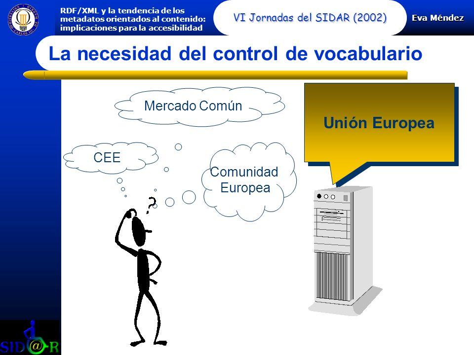 Eva Méndez RDF/XML y la tendencia de los metadatos orientados al contenido: implicaciones para la accesibilidad VI Jornadas del SIDAR (2002) La necesidad del control de vocabulario Comunidad Europea CEE Mercado Común Unión Europea