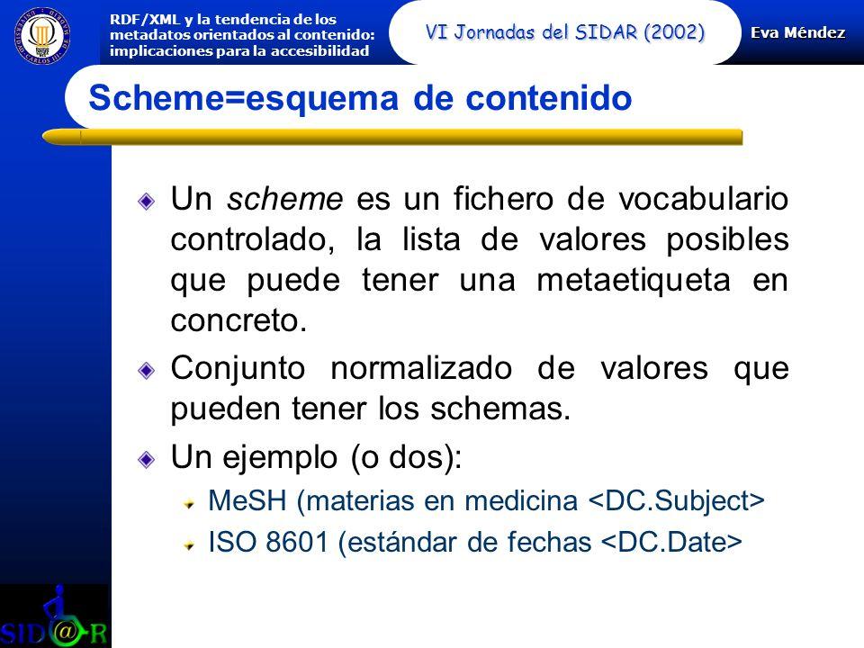 Eva Méndez RDF/XML y la tendencia de los metadatos orientados al contenido: implicaciones para la accesibilidad VI Jornadas del SIDAR (2002) Scheme=esquema de contenido Un scheme es un fichero de vocabulario controlado, la lista de valores posibles que puede tener una metaetiqueta en concreto.