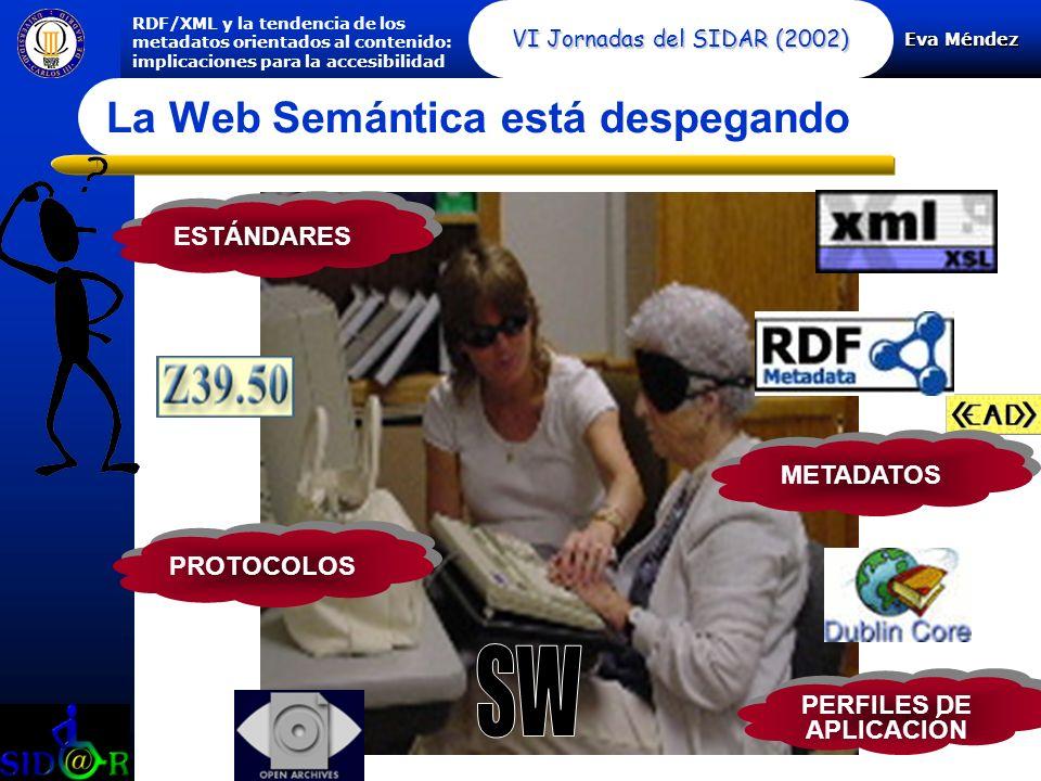 Eva Méndez RDF/XML y la tendencia de los metadatos orientados al contenido: implicaciones para la accesibilidad VI Jornadas del SIDAR (2002) La Web Semántica está despegando ESTÁNDARES PROTOCOLOS METADATOS PERFILES DE APLICACIÓN