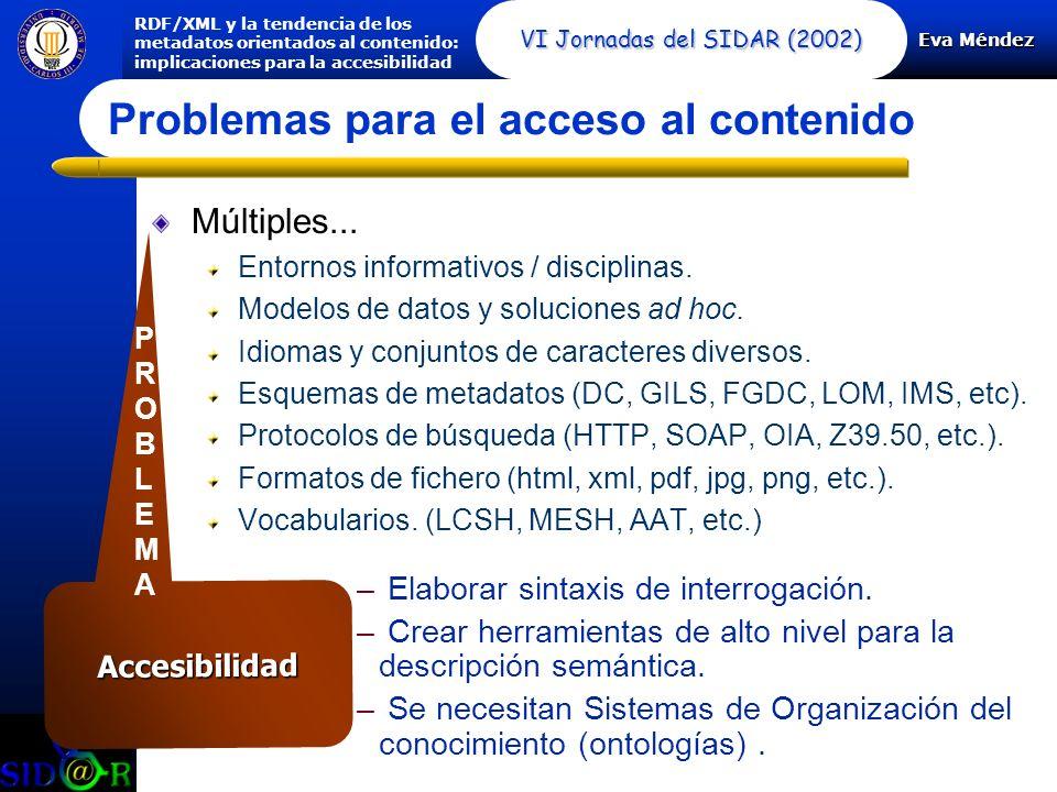 Eva Méndez RDF/XML y la tendencia de los metadatos orientados al contenido: implicaciones para la accesibilidad VI Jornadas del SIDAR (2002) Accesibilidad Múltiples...