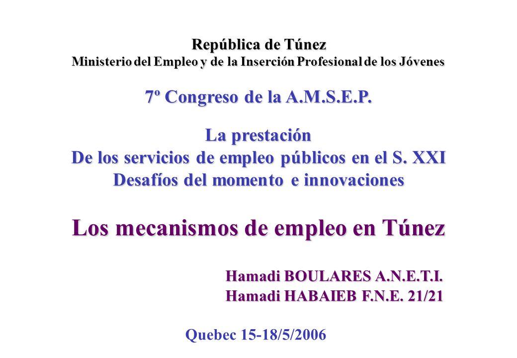 República de Túnez Ministerio del Empleo y de la Inserción Profesional de los Jóvenes 7º Congreso de la A.M.S.E.P.