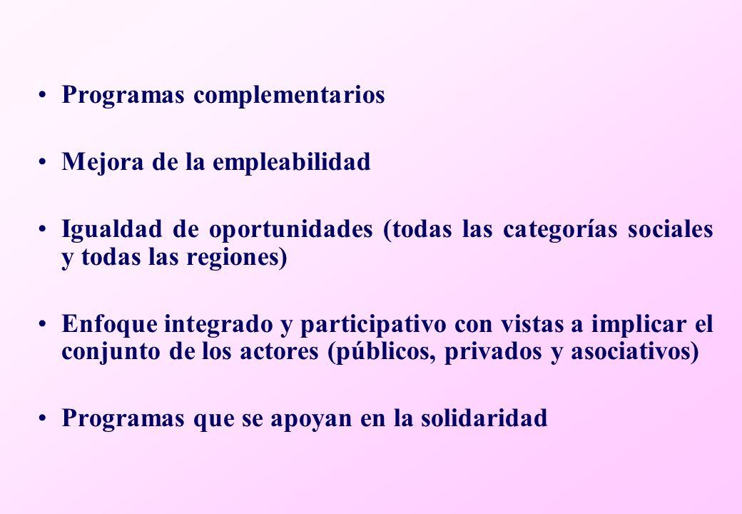 Programas complementarios Mejora de la empleabilidad Igualdad de oportunidades (todas las categorías sociales y todas las regiones) Enfoque integrado y participativo con vistas a implicar el conjunto de los actores (públicos, privados y asociativos) Programas que se apoyan en la solidaridad