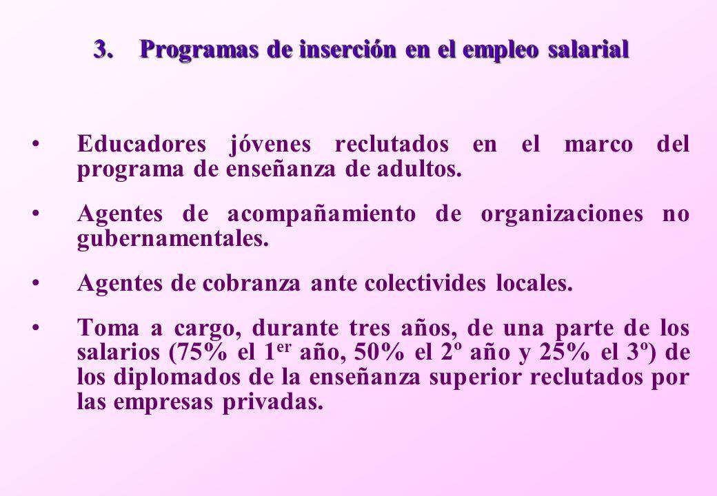 3.Programas de inserción en el empleo salarial Educadores jóvenes reclutados en el marco del programa de enseñanza de adultos.