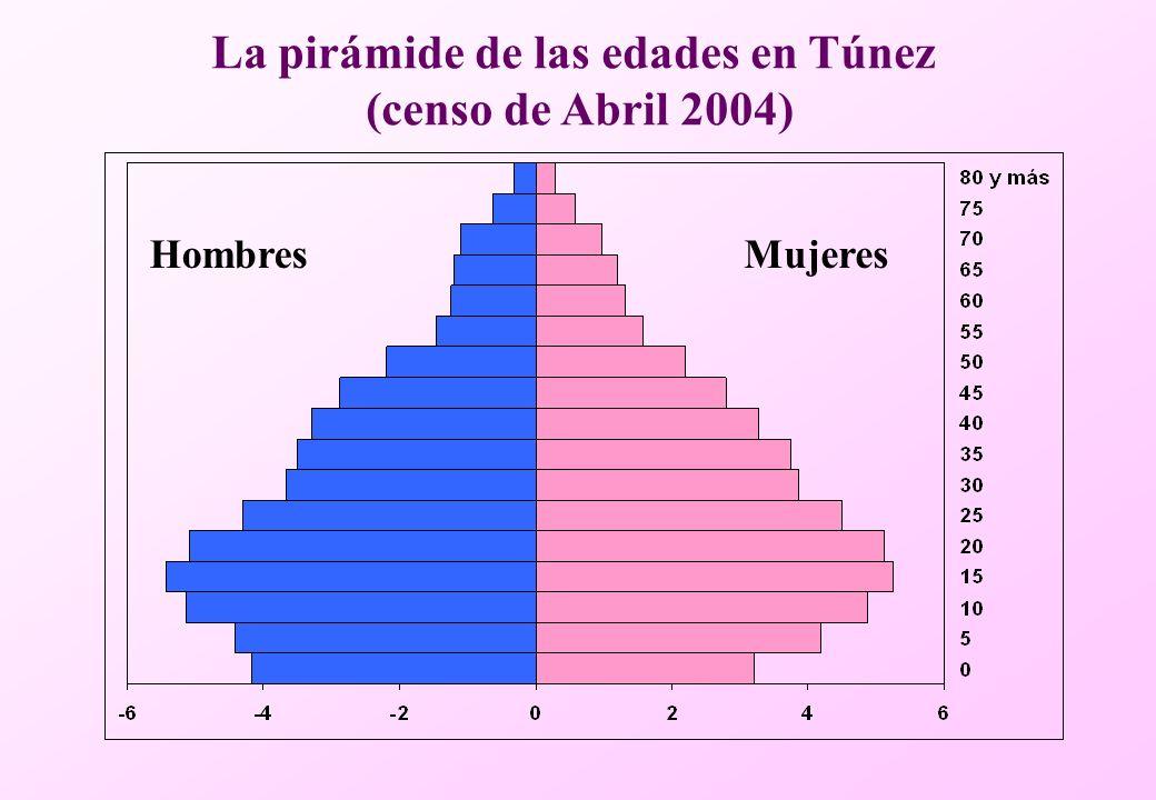 MujeresHombres La pirámide de las edades en Túnez (censo de Abril 2004)