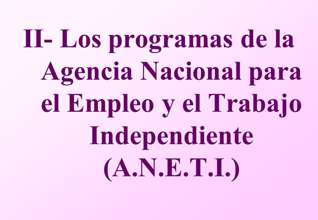 II- Los programas de la Agencia Nacional para el Empleo y el Trabajo Independiente (A.N.E.T.I.)