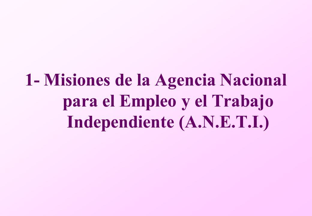 1- Misiones de la Agencia Nacional para el Empleo y el Trabajo Independiente (A.N.E.T.I.)
