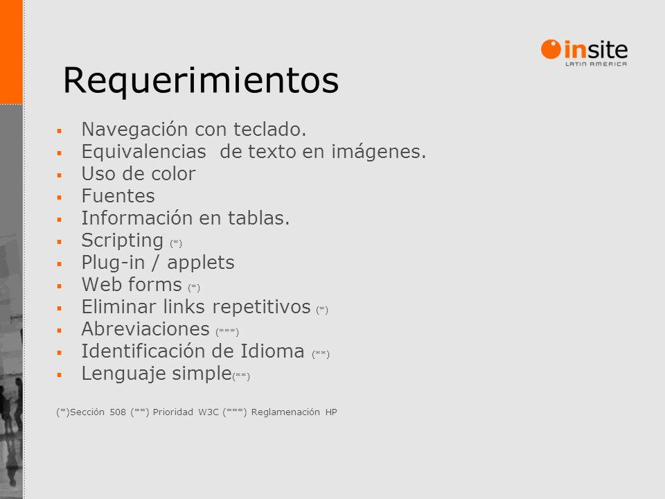 Requerimientos Navegación con teclado. Equivalencias de texto en imágenes. Uso de color Fuentes Información en tablas. Scripting (*) Plug-in / applets