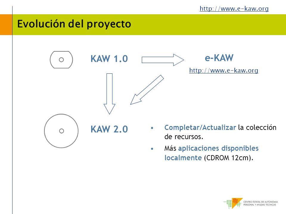 http://www.e-kaw.org Evolución del proyecto Completar/Actualizar la colección de recursos. Más aplicaciones disponibles localmente (CDROM 12cm). KAW 1