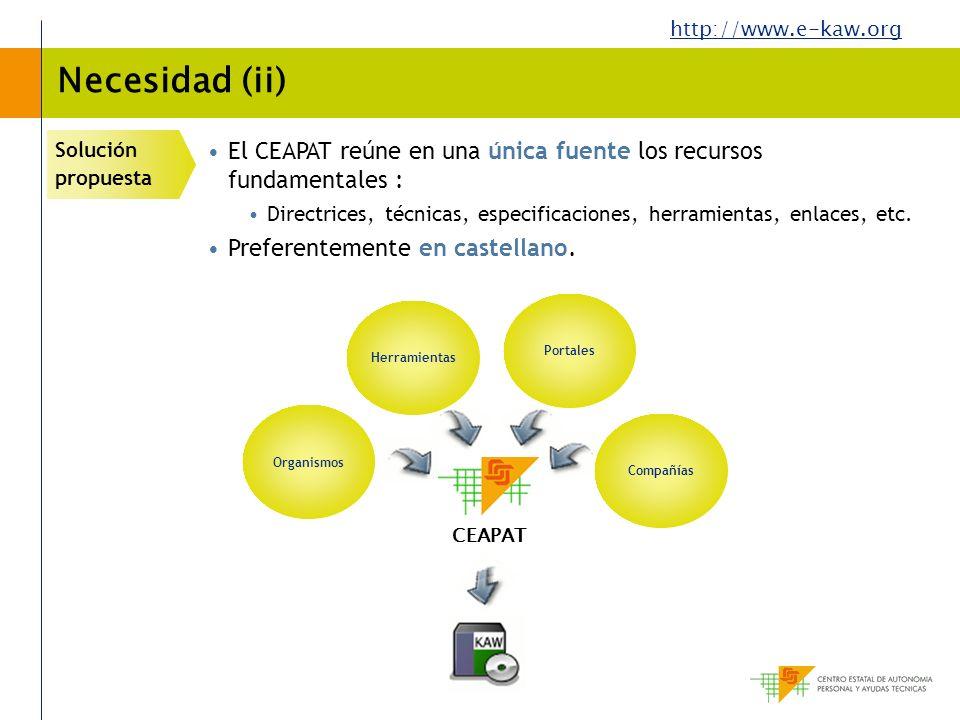 http://www.e-kaw.org Necesidad (ii) Solución propuesta El CEAPAT reúne en una única fuente los recursos fundamentales : Directrices, técnicas, especif