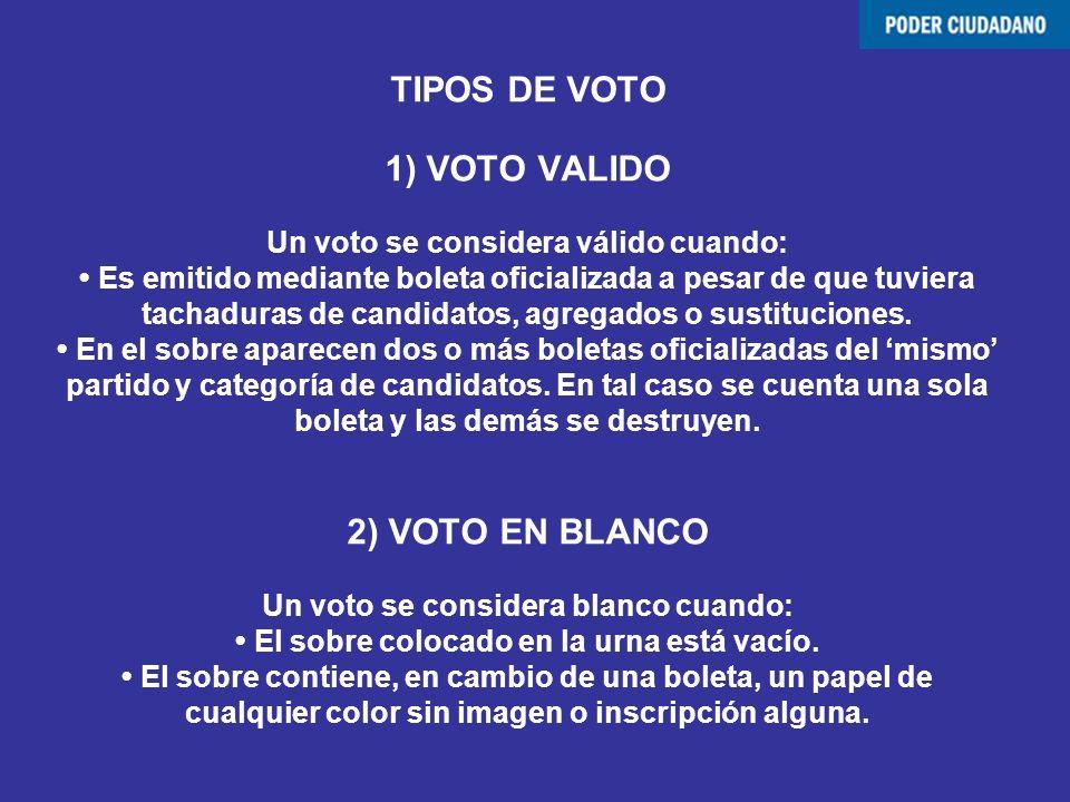 TIPOS DE VOTO 1) VOTO VALIDO Un voto se considera válido cuando: Es emitido mediante boleta oficializada a pesar de que tuviera tachaduras de candidat