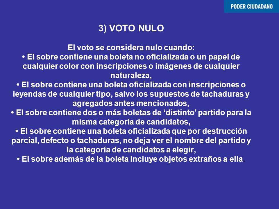 3) VOTO NULO El voto se considera nulo cuando: El sobre contiene una boleta no oficializada o un papel de cualquier color con inscripciones o imágenes