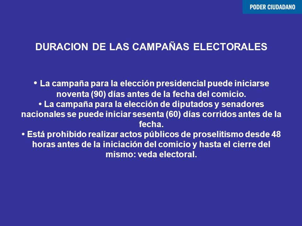 DURACION DE LAS CAMPAÑAS ELECTORALES La campaña para la elección presidencial puede iniciarse noventa (90) días antes de la fecha del comicio. La camp
