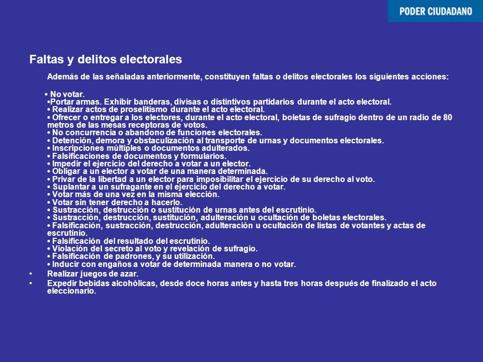 Faltas y delitos electorales Además de las señaladas anteriormente, constituyen faltas o delitos electorales los siguientes acciones: No votar. Portar