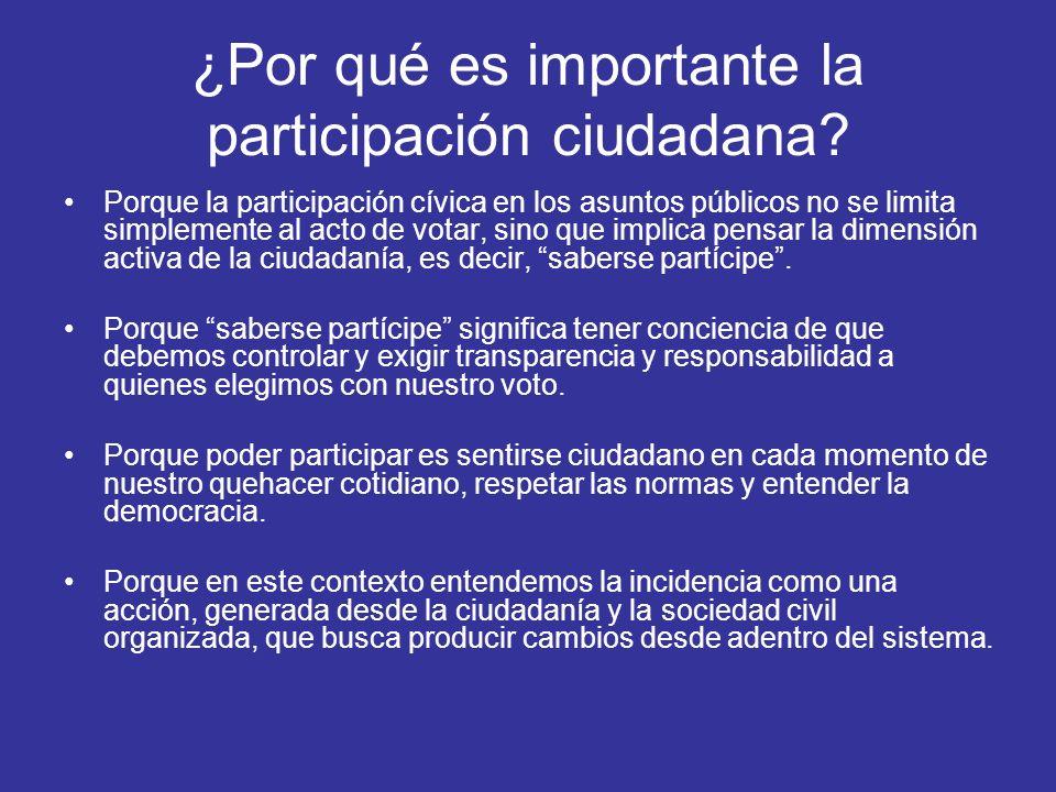 ¿Por qué es importante la participación ciudadana? Porque la participación cívica en los asuntos públicos no se limita simplemente al acto de votar, s