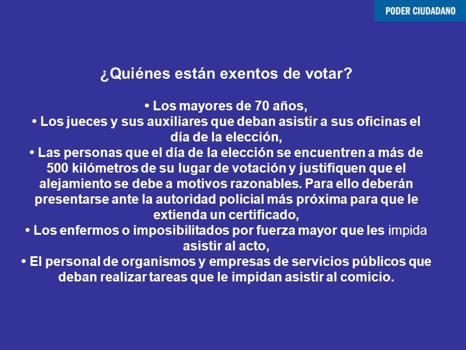 ¿Quiénes están exentos de votar? Los mayores de 70 años, Los jueces y sus auxiliares que deban asistir a sus oficinas el día de la elección, Las perso