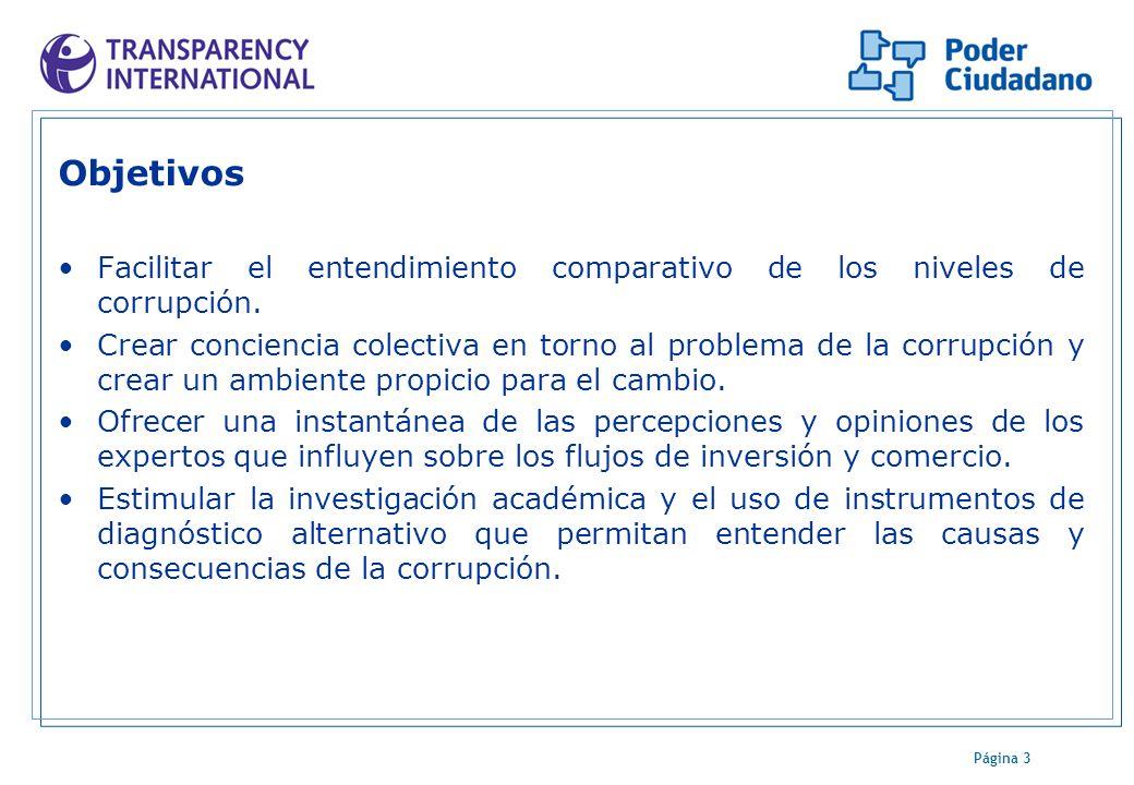 Página 3 Objetivos Facilitar el entendimiento comparativo de los niveles de corrupción. Crear conciencia colectiva en torno al problema de la corrupci